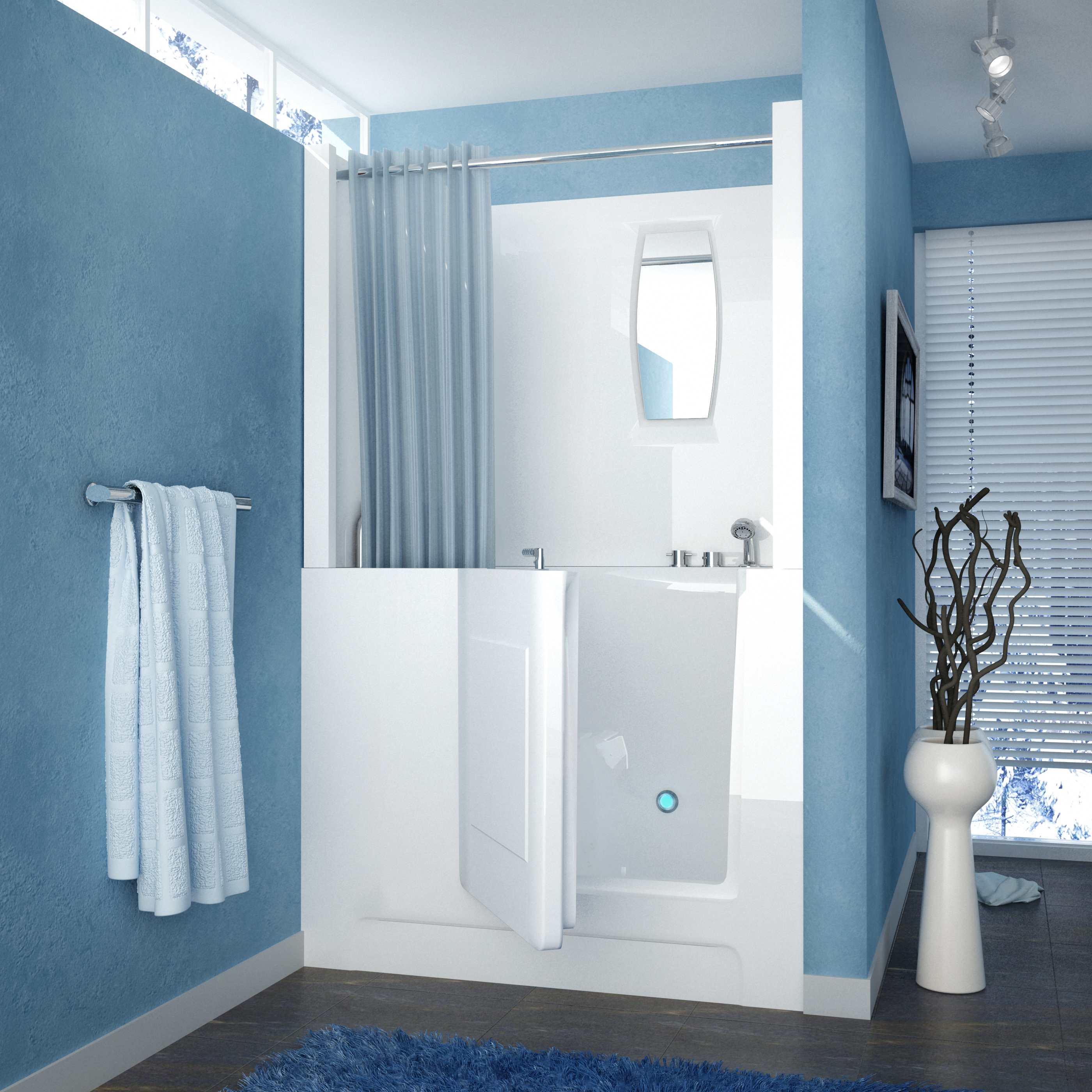 Venzi 47 x 27 Right Drain White Walk In Bathtub Shower Enclosure