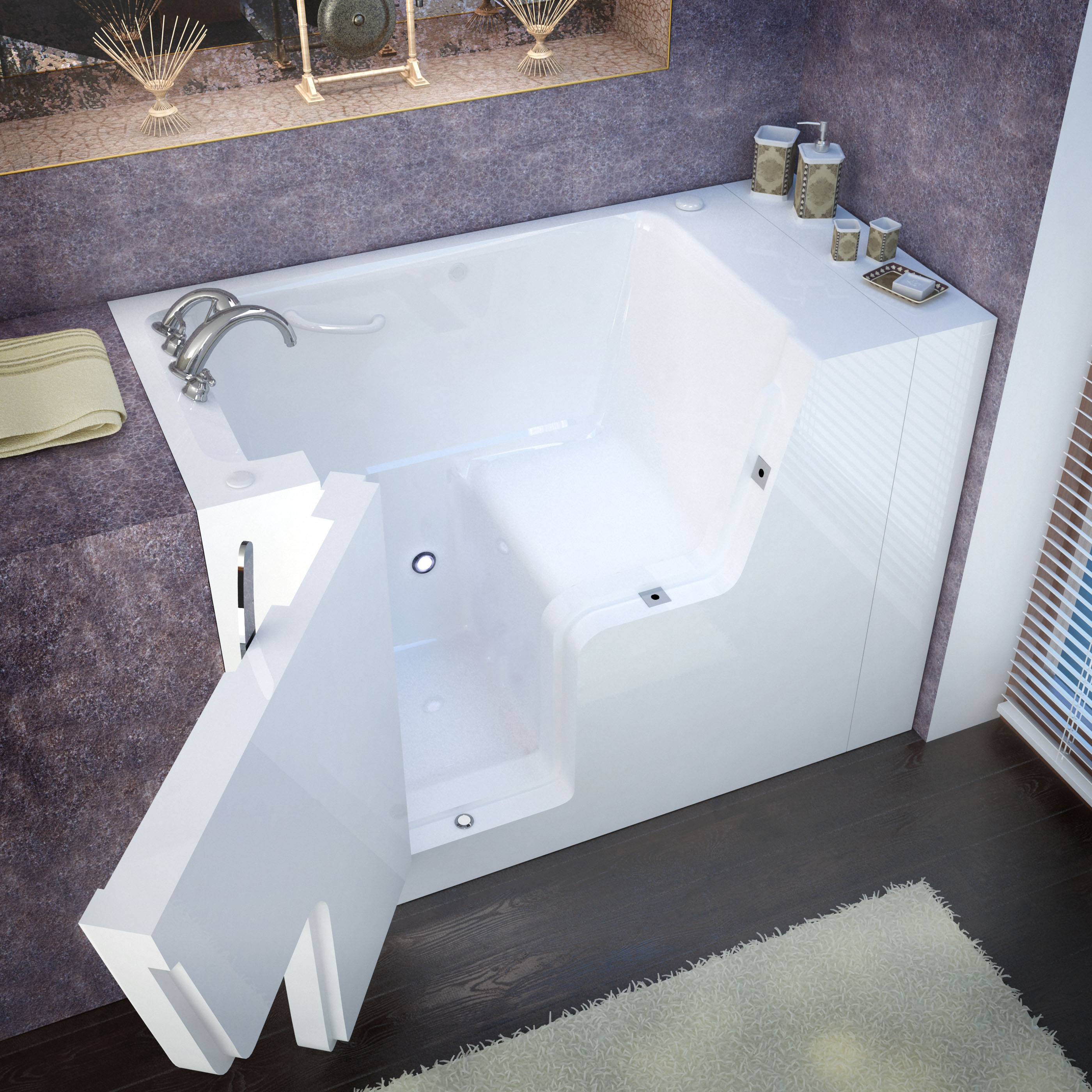 Venzi 53 x 29 Wheelchair Accessible Walk In Bathtub