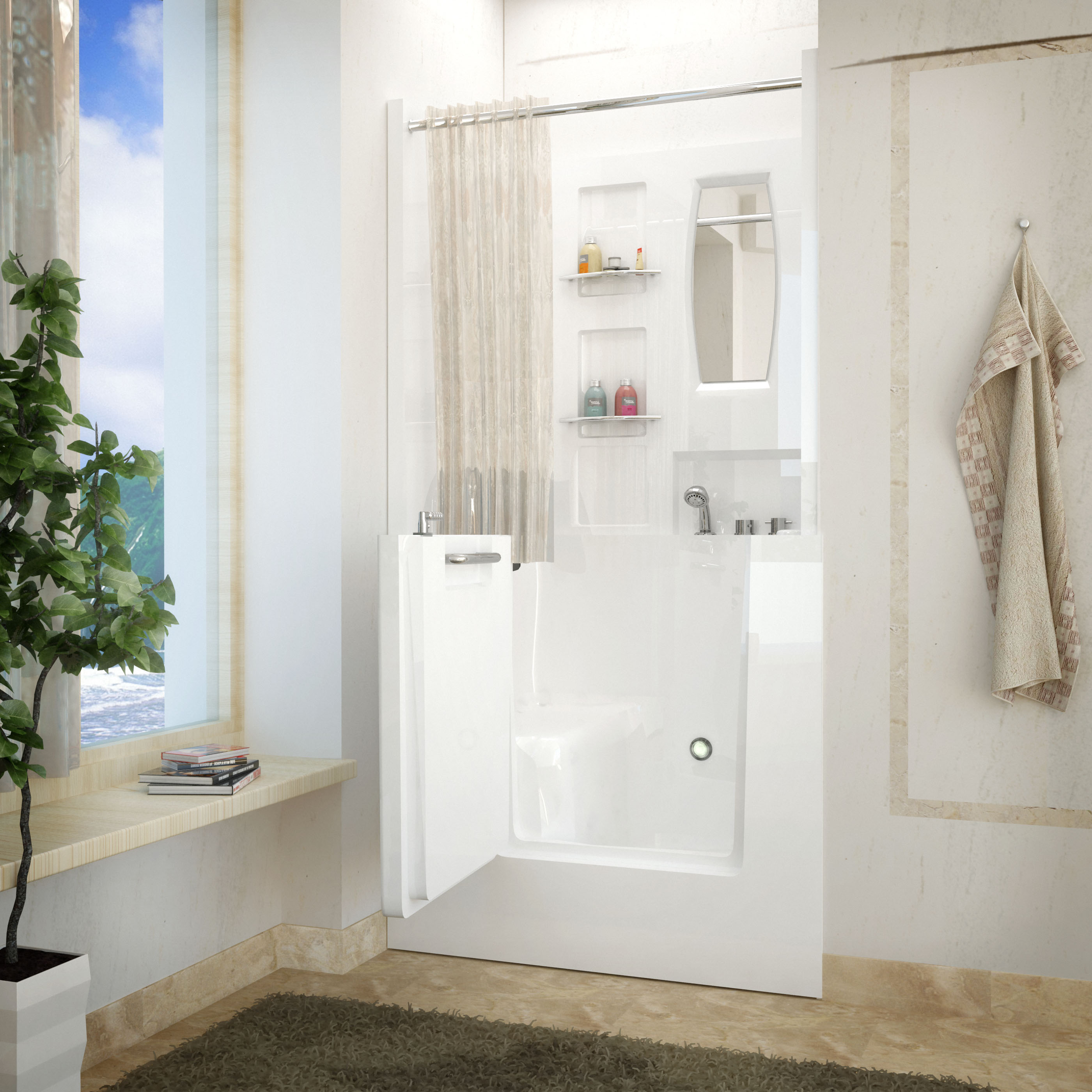 Venzi 40 x 31 Right Drain White Walk In Bathtub Shower Enclosure