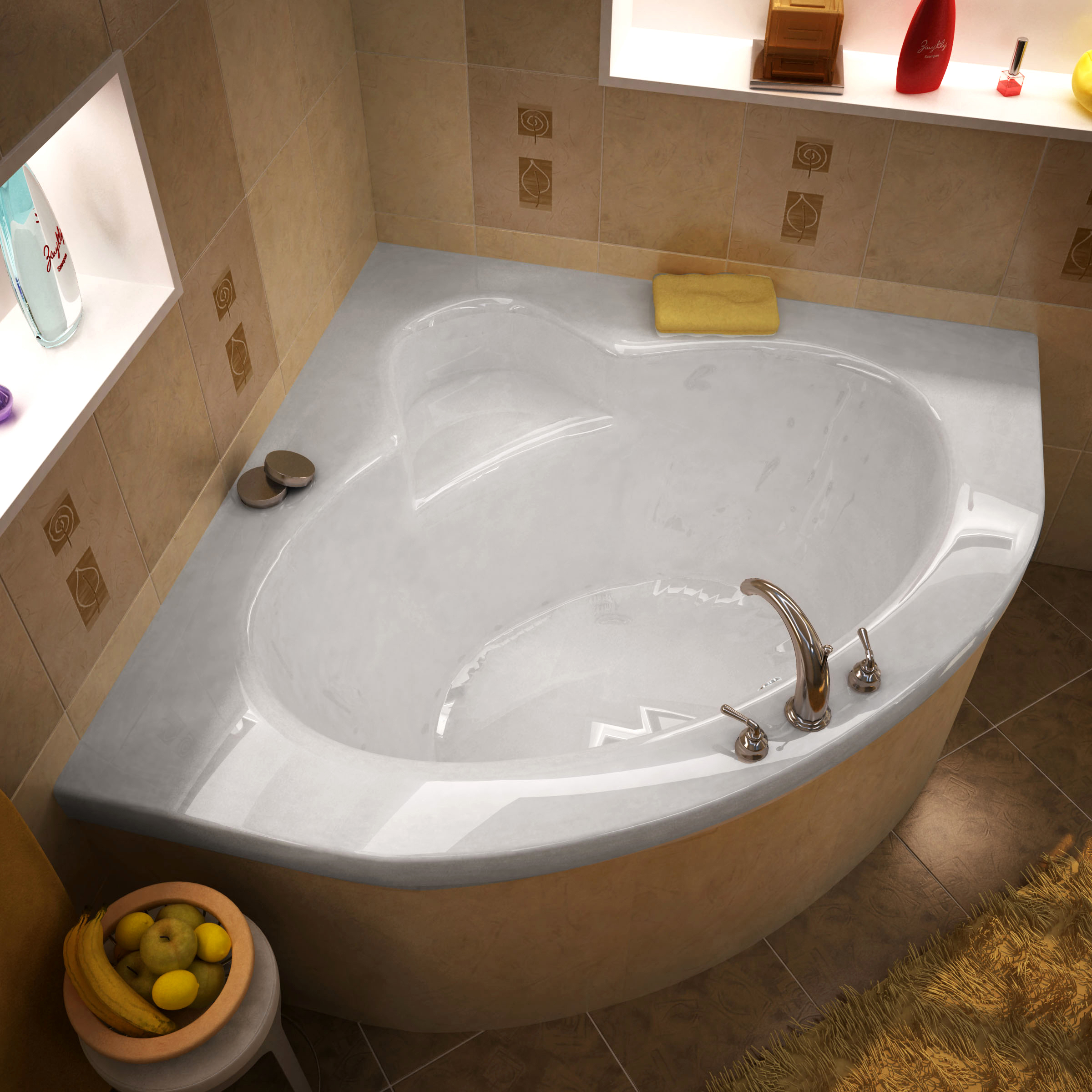 Venzi Esta 60 x 60 Corner Bathtub with Center Drain