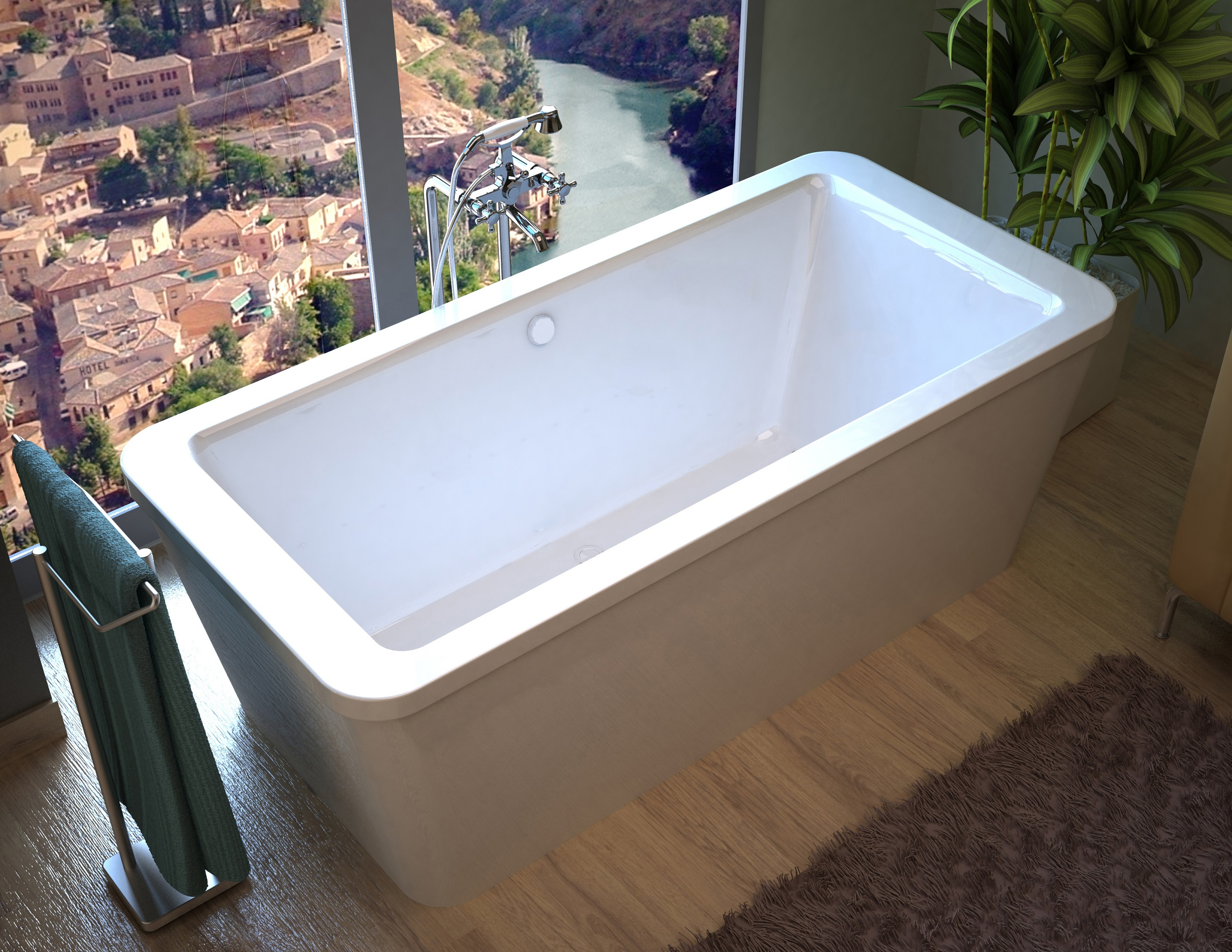 Venzi Aquilia 67 x 32 x 22 Rectangular Freestanding Bathtub with ...