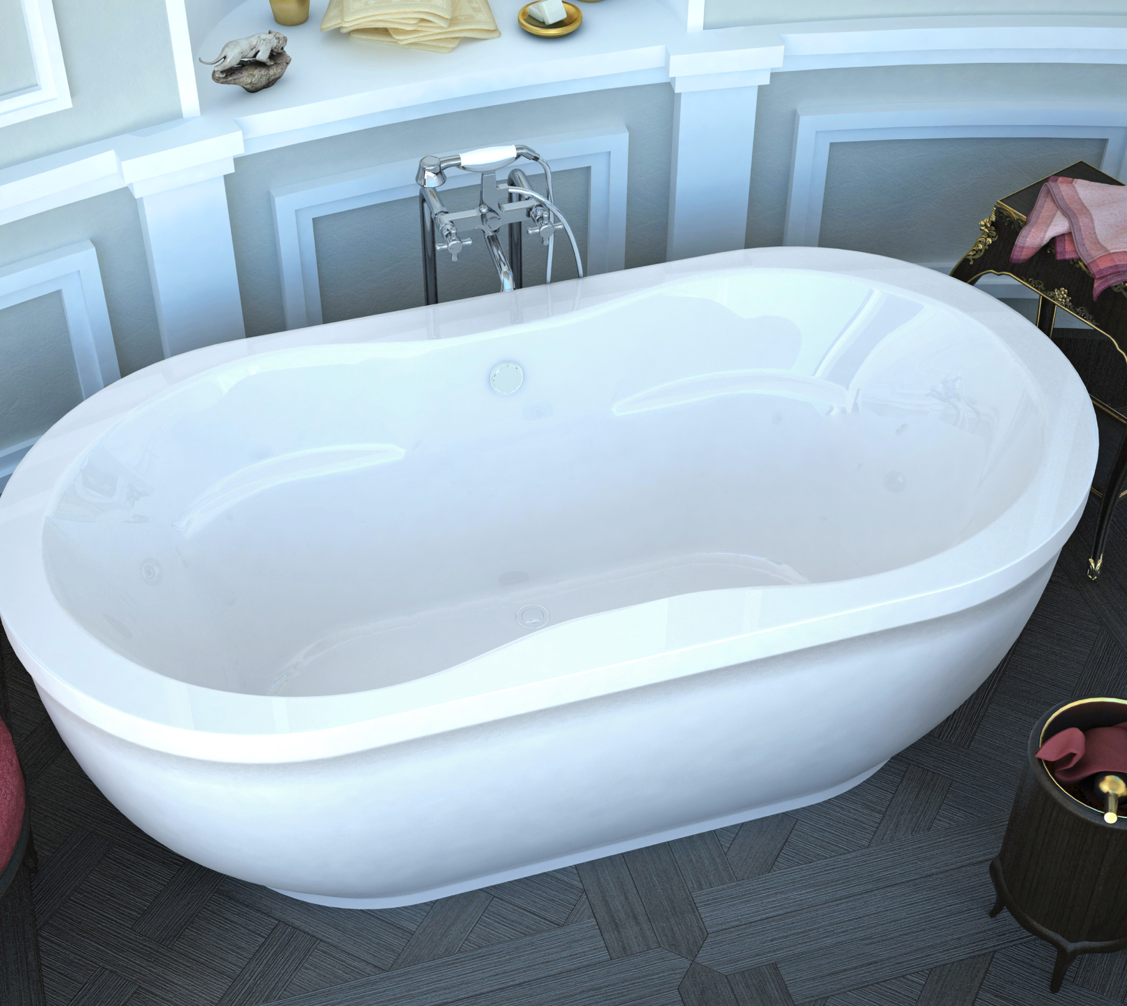 Venzi Velia 71 x 34 x 23 Oval Freestanding Bathtub with Center Drain