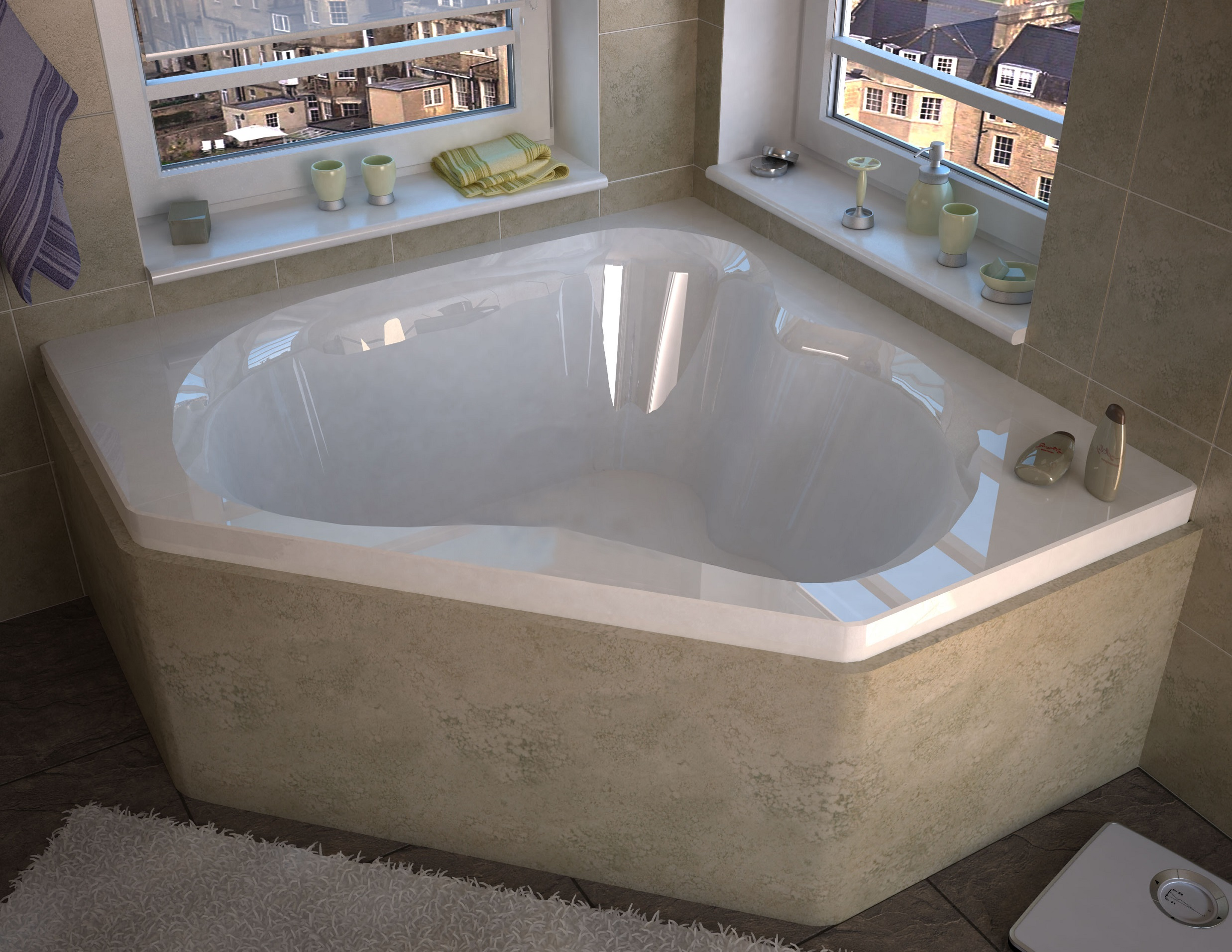 Tovila 60 x 60 Corner Bathtub with Center Drain