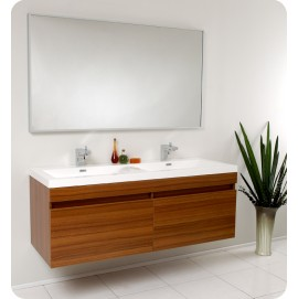 Fresca Largo Teak Modern Bathroom Vanity w/ Wavy Double Sinks