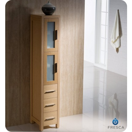 Fresca Torino Light Oak Tall Bathroom Linen Side Cabinet