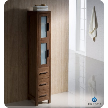 Fresca Torino Walnut Brown Tall Bathroom Linen Side Cabinet