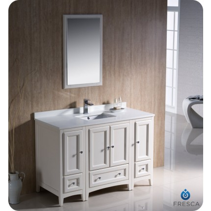 "Fresca Oxford 48"" Antique White Traditional Bathroom Vanity w/ 2 Side Cabinets"