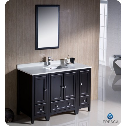 "Fresca Oxford 48"" Espresso Traditional Bathroom Vanity w/ 2 Side Cabinets"