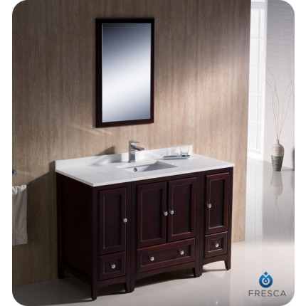 "Fresca Oxford 48"" Mahogany Traditional Bathroom Vanity w/ 2 Side Cabinets"