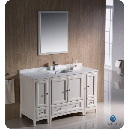 "Fresca Oxford 54"" Antique White Traditional Bathroom Vanity w/ 2 Side Cabinets"