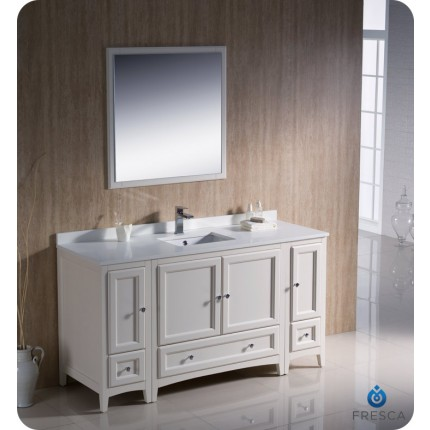 "Fresca Oxford 60"" Antique White Traditional Bathroom Vanity w/ 2 Side Cabinets"