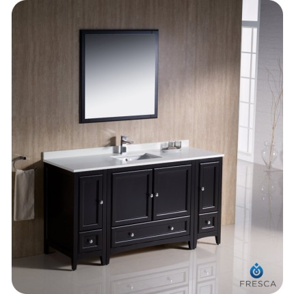 "Fresca Oxford 60"" Espresso Traditional Bathroom Vanity w/ 2 Side Cabinets"
