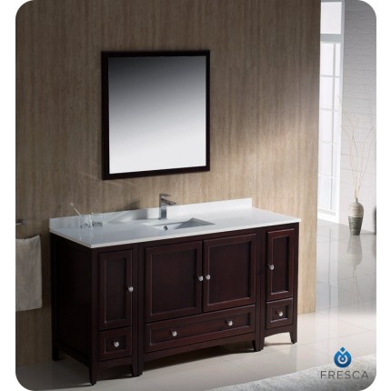 "Fresca Oxford 60"" Mahogany Traditional Bathroom Vanity w/ 2 Side Cabinets"