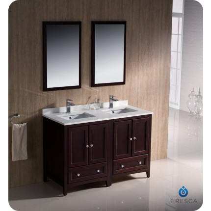 "Fresca Oxford 48"" Mahogany Traditional Double Sink Bathroom Vanity"