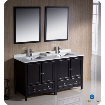 "Fresca Oxford 60"" Espresso Traditional Double Sink Bathroom Vanity"