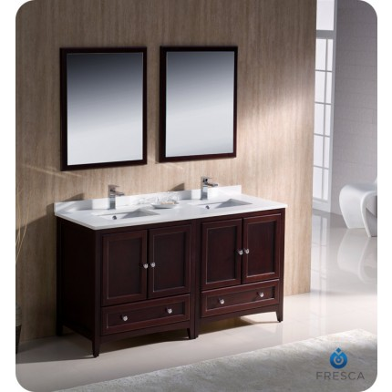 "Fresca Oxford 60"" Mahogany Traditional Double Sink Bathroom Vanity"