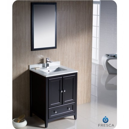 "Fresca Oxford 24"" Espresso Traditional Bathroom Vanity"