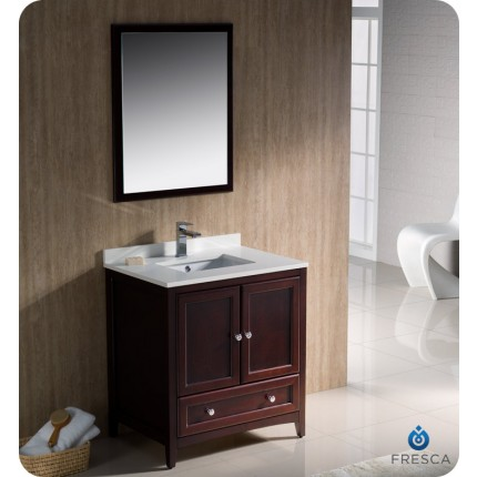 "Fresca Oxford 30"" Mahogany Traditional Bathroom Vanity"