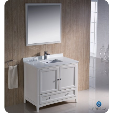 "Fresca Oxford 36"" Antique White Traditional Bathroom Vanity"