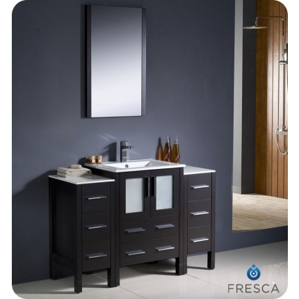 "Fresca Torino 48"" Espresso Modern Bathroom Vanity w/ 2 Side Cabinets & Integrated Sink"