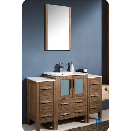 "Fresca Torino 48"" Walnut Modern Bathroom Vanity w/ 2 Side Cabinets & IntegratedSink"