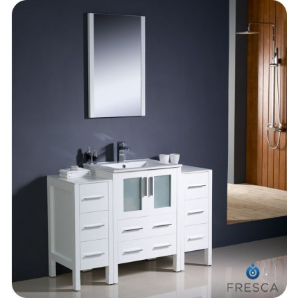 "Fresca Torino 48"" White Modern Bathroom Vanity w/ 2 Side Cabinets & Integrated Sink"