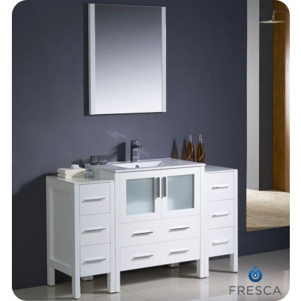 "Fresca Torino 54"" White Modern Bathroom Vanity w/ 2 Side Cabinets & Integrated Sink"