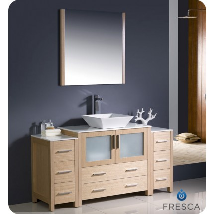 "Fresca Torino 60"" Light Oak Modern Bathroom Vanity w/ 2 Side Cabinets & Vessel Sink"
