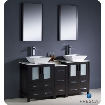 "Fresca Torino 60"" Espresso Modern Double Sink Bathroom Vanity w/ Side Cabinet & Vessel Sinks"