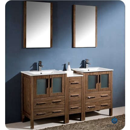 "Fresca Torino 60"" Walnut Modern Double Sink Bathroom Vanity w/ Side Cabinet & Integrated Sinks"