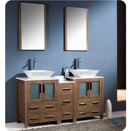 "Fresca Torino 60"" Walnut Modern Double Sink Bathroom Vanity w/ Side Cabinet & Vessel Sinks"