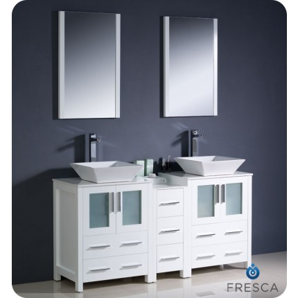 "Fresca Torino 60"" White Modern Double Sink Bathroom Vanity w/ Side Cabinet & Vessel Sinks"