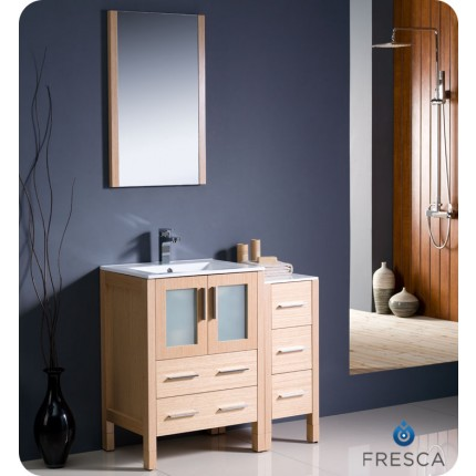 "Fresca Torino 36"" Light Oak Modern Bathroom Vanity w/ Side Cabinet & Integrated Sink"