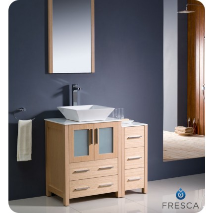 "Fresca Torino 36"" Light Oak Modern Bathroom Vanity w/ Side Cabinet & Vessel Sink"