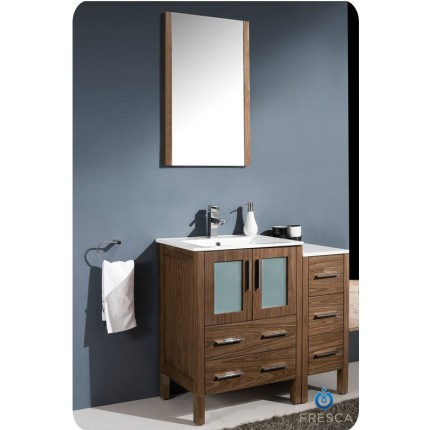 "Fresca Torino 36"" Walnut Modern Bathroom Vanity w/ Side Cabinet & Integrated Sink"