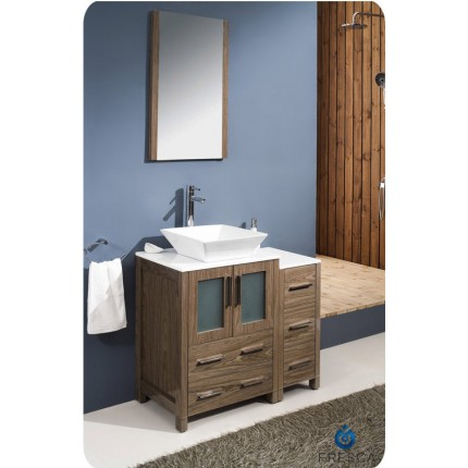 "Fresca Torino 36"" Walnut Modern Bathroom Vanity w/ Side Cabinet & Vessel Sink"