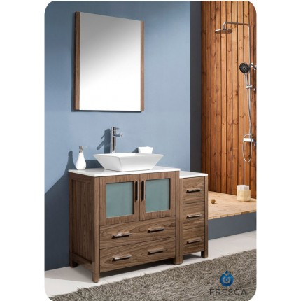 "Fresca Torino 42"" Walnut Modern Bathroom Vanity w/ Side Cabinet & Vessel Sink"