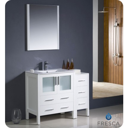 "Fresca Torino 42"" White Modern Bathroom Vanity w/ Side Cabinet & Integrated Sink"