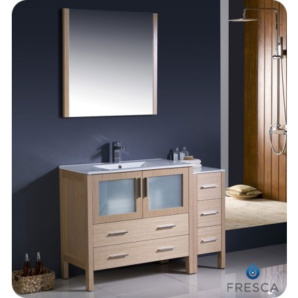 "Fresca Torino 48"" Light Oak Modern Bathroom Vanity w/ Side Cabinet & Integrated Sinks"