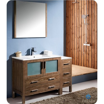 "Fresca Torino 48"" Walnut Modern Bathroom Vanity w/ Side Cabinet & Integrated Sinks"