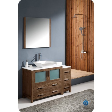 "Fresca Torino 48"" Walnut Modern Bathroom Vanity w/ Side Cabinet & Vessel Sink"