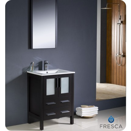"Fresca Torino 24"" Espresso Modern Bathroom Vanity w/ Integrated Sink"