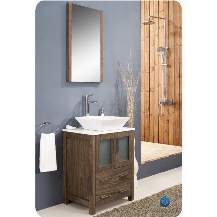 "Fresca Torino 24"" Walnut Modern Bathroom Vanity w/ Vessel Sink"