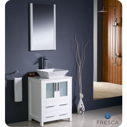 "Fresca Torino 24"" White Modern Bathroom Vanity w/ Vessel Sink"