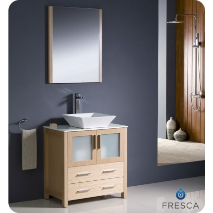 "Fresca Torino 30"" Light Oak Modern Bathroom Vanity w/ Vessel Sink"