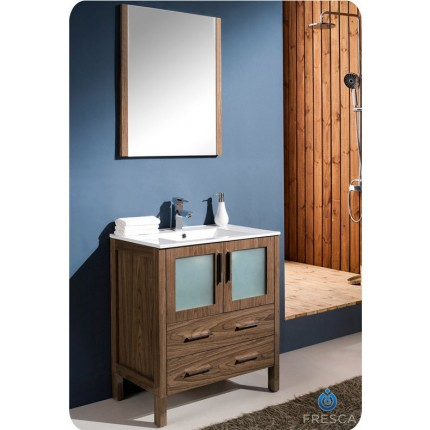"Fresca Torino 30"" Walnut Modern Bathroom Vanity w/ Integrated Sink"