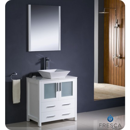 "Fresca Torino 30"" White Modern Bathroom Vanity w/ Vessel Sink"