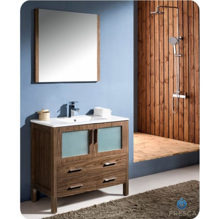 "Fresca Torino 36"" Walnut Modern Bathroom Vanity w/ Integrated Sink"