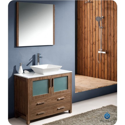 "Fresca Torino 36"" Walnut Modern Bathroom Vanity w/ Vessel Sink"