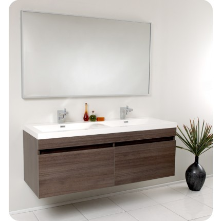 Fresca Largo Gray Oak Modern Bathroom Vanity w/ Wavy Double Sinks